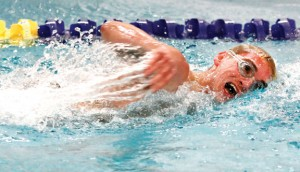 Naugatuck's Vincent Thoren swims to a second place finish in the 200 freestyle during a dual meet against Sacred Heart in Waterbury Jan. 24. The Greyhounds stand at 4-4 on the season. –RA ARCHIVE