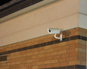 A surveillance camera watches over the parking lot at Long River Middle School in Prospect. A referendum will be held Thursday on a proposed $1,955,000 appropriation for security improvements. –FILE PHOTO