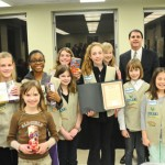 Naugatuck Girl Scouts from troops 64570 and 64572 pose with Mayor Robert Mezzo during the Board of Mayor and Burgess meeting March 4 at Town Hall. The board presented the Girl Scouts with a proclamation celebrating the 102nd anniversary of the Girl Scouts of the United States of America. The proclamation declared March 9 through 15, 2014 Girl Scout Week in Naugatuck. –LUKE MARSHALL