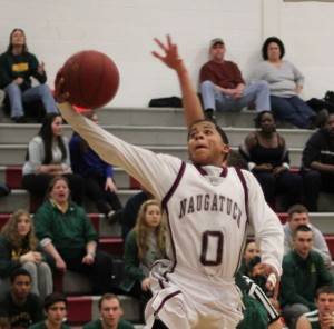Naugatuck's Dayvon Russell led the Greyhounds with 17 points in the Class L state tournament opening round versus Career Magnet of New Haven Monday. Naugatuck lost the game 72-53. –FILE PHOTO