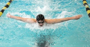 Woodland junior Aidan Music won a pair of silver medals at the Naugatuck Valley League swim finals March 7, finishing second in the 200 IM (2:06.68) and second in the 100 breaststroke (1:05.36). Music and senior Andy O'Dell earned All-NVL honors at the meet. –FILE PHOTO