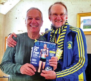 Prospect resident Tim Beach, right, poses with his friend and mentor Darrell Netto after the 2014 Boston Marathon April 14. –CONTRIBUTED