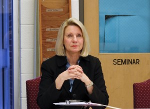 Interim Region 16 Superintendent of Schools Gail Gilmore listens to a presentation during the Board of Education's April 23 meeting. –ELIO GUGLIOTTI