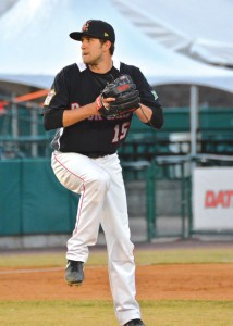 Naugatuck native Pat Dean pitches on opening day for the New Britain Rock Cats April 3. Dean went 5 1/3 innings, allowed two runs on three hits and earned the victory. -SCOTT BLANCHETTE