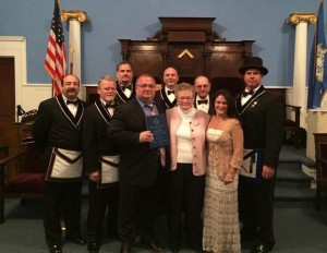 Paul Markette was recently awarded the first Armand Brodeur Citizen of the Year Award presented by the Shepard-Salem Masonic Lodge No. 78 in Naugatuck. Pictured, from left, Stephen Nevins, Al Rolinson, Jim O'Donnell (back), Paul Markette, Lonny Barone (back), Barbara Brodeur, Ed Ross (back), Barbara Brodeur Santos and Chip Schofield. -CONTRIBUTED