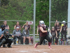 Naugatuck's Gillian Fortier connects on a bases-loaded, walk-off double May 15 to give the Greyhounds a 2-1 win over East Hartford. Naugatuck (13-6) will likely be the No. 5 seed heading into the NVL softball tournament this weekend. –ELIO GUGLIOTTI