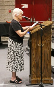Naugatuck resident Shirley Anderson speaks Tuesday night during a public hearing on the borough's $115.6 million budget for 2014-15. –LUKE MARSHALL