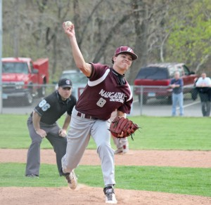 Naugatuck's Ricky Plasky has become the Greyhounds' go-to guy on the mound this season, leading the team in innings pitched. –FILE PHOTO