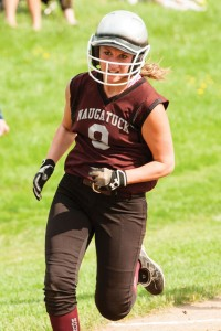 Naugatuck's Erica Andreoli heads home to score a run against Holy Cross. Naugatuck defeated the Crusaders, 6-3, in the NVL softball quarterfinals Tuesday in Waterbury. –RA ARCHIVE