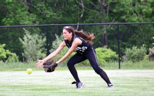 Woodland's Natalie Veneri fields a ball Tuesday afternoon during the quarterfinals of the Naugatuck Valley League tournament versus St. Paul in Beacon Falls. The Hawks advanced with a 2-1 win. –LUKE MARSHALL