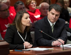 State Rep. Rosa Rebimbas (R-70), left, and Naugatuck Mayor Robert Mezzo testify in favor of HB 5542 earlier this year in Hartford. –CONTRIBUTED