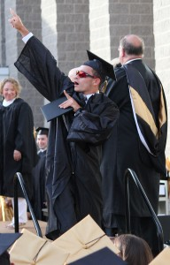 Woodland Regional High School graduate Mike Lang celebrates after receiving his diploma during graduation June 20 at the school in Beacon Falls. –ELIO GUGLIOTTI