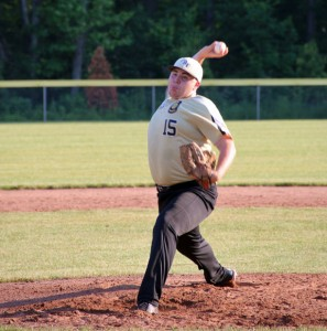 Prospect-Beacon Falls Posts 195-25's Matt Spoffard throws a pitch Tuesday afternoon at Hotchkiss Park in Prospect versus Naugatuck Post 17. Posts 195-25 lost 5-2. –LUKE MARSHALL