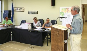 Attorney Michael McVerry, right, addresses the Zoning Commission on July 16 in regards to a proposed commercial development on Prospect Street. –LUKE MARSHALL