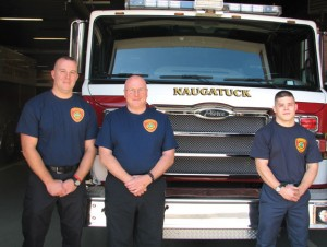 New Naugatuck firefighters, from left, Shane Henion, Dave Proulx and Nate Peragallo were recently hired. –RA ARCHIVE