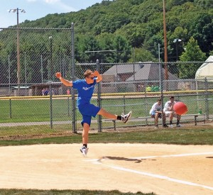 Shane Classey leads off for team Kickin' Yours during the second annual Susie Classic Aug. 9 at the Pent Road Recreation Complex in Beacon Falls. The kickball tournament was held to raise money for the Susie Foundation, a Beacon Falls-based nonprofit organization the helps families living with Amyotrophic Lateral Sclerosis (ALS), also known as Lou Gehrig's Disease. –PATRICK BURSEY