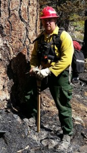 Scott Moro of Naugatuck is one of 20 Connecticut Department of Energy and Environmental Protection firefighters who went to California for the past two weeks to help fight raging forest fires. Moro is a career firefighter at the Southbury Training School. –CONTRIBUTED
