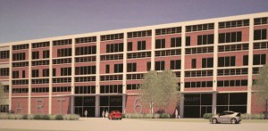 This artist rendition shows what the outside of the General DataComm building could look like after a plan to transform the industrial building in to a mixed-use building.