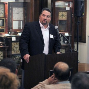 Developer Rob Oris speaks on plans to build a medical facility and retail building on Parcel C during the Naugatuck Economic Development Corporation's 11th Annual Meeting Nov. 13 at the Naugatuck Historical Society Museum. –ELIO GUGLIOTTI