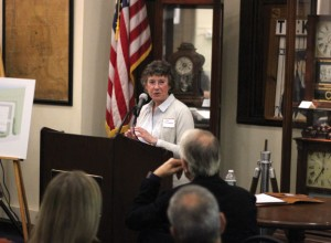 Joan O'Riordan, of O'Riordan Migani Architects, speaks on plans to redevelop the General DataComm building during the Naugatuck Economic Development Corporation's 11th Annual Meeting Nov. 13 at the Naugatuck Historical Society Museum. –ELIO GUGLIOTTI