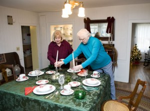 Nancy Via, president of the Prospect Historical Society, and Carol Brooks, decorate one of the tables inside The Hotchkiss House in Prospect. The Prospect Historical Society will be hosting tours of the 1819 building. -REPUBLICAN-AMERICAN