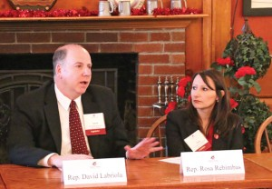 State representatives David Labriola (R-131), left, and Rosa Rebimbas (R-70) talk to the business community during the Naugatuck Chamber of Commerce's annual Legislative Breakfast Feb. 6. –LUKE MARSHALL