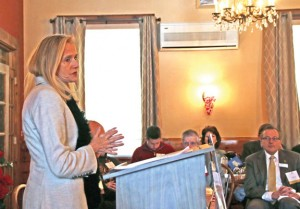 State Sen. Joan Hartley (D-15) addresses the crowd during the Naugatuck Chamber of Commerce's annual Legislative Breakfast Feb. 6. –LUKE MARSHALL