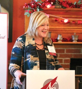 State Rep. Theresa Conroy (D-105) talks to the business community during the Naugatuck Chamber of Commerce's annual Legislative Breakfast Feb. 6. –LUKE MARSHALL