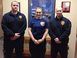 The Naugatuck Fire Department has hired three new firefighters. From left are Patrick Richards, Kaity Judson and Michael Ames.-REPUBLICAN-AMERICAN