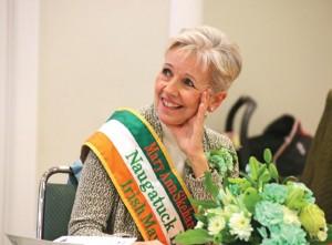 Naugatuck Irish Mayor of the Day Mary Ann Skehan Sigworth looks on March 17 during a St. Patrick's Day celebration at St. Francis Church in Naugatuck. –LUKE MARSHALL