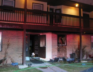 A fire at this condo complex Monday at 833 Rubber Ave. in Naugatuck displaced a family. Nobody was injured. -CONTRIBUTED