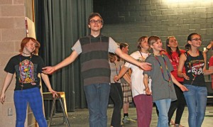 Woodland Regional High School senior Robert Weiner, center, and members of the cast of Godspell rehearse at the school May 16. The drama club will present Godspell May 1 and May 2. –LUKE MARSHALL