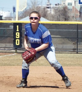Former Naugatuck High School softball player Gillian Fortier now plays for Albertus Magnus College. –CONTRIBUTED