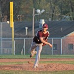 Naugatuck's Evan Pelliccia delivers a pitch Monday versus Torrington at Naugatuck High. Pelliccia struck out nine batters, but Torrington won the game, 5-4. –ELIO GUGLIOTTI