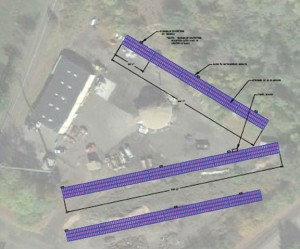 This rendering shows the preliminary layout for proposed solar panels on town-owned land at 411 Lopus Road in Beacon Falls. Jordan Energy, a New York-based company, wants to install the panels through the state's Zero Emission Renewable Energy Credit (ZREC) Program. –CONTRIBUTED