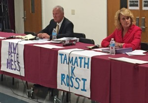 "Democrat N. Warren ""Pete"" Hess, left, and Republican Tamath K. Rossi, candidates for mayor of Naugatuck, debate Wednesday night at Naugatuck High School. -REPUBLICAN-AMERICAN"