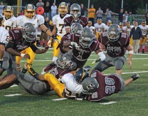 The Naugatuck defense will look to smother Ansonia's pair of 1,000- yard rushers, Tajik Bagley and Tyler Bailey, on Thanksgiving. –ELIO GUGLIOTTI