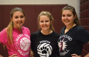 Naugatuck High volleyball players, from left, Kathryn, Emma and Nicole Healy used their family connection to their advantage on the court. Kathryn and Nicole are twin sisters and seniors, and Emma, a junior, is their cousin. –KEN MORSE