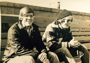 Steve Gesseck, left, and Bob Sagendorf after a radio broadcast in October 1976. Sagendorf and Gesseck started calling local high school football on the radio 40 years ago with WOWW-AM. -CONTRIBUTED BY BOB SAGENDORF