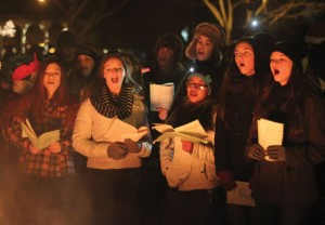 Members of the Naugatuck High School Chamber Singers perform during Naugatuck's 11th annual Holiday Kickoff on the Town Green last year. –FILE PHOTO