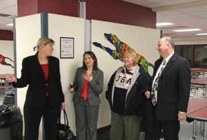 From left, Naugatuck Superintendent of Schools Sharon Locke, state Rep. Rosa Rebimbas (R-70), Board of Education Chair Dorothy Neth-Kunin and state Rep. David Labriola (R-131) discuss renovations made to Naugatuck High School Nov. 25 during an open house at the newly-renovated school. –LUKE MARSHALL