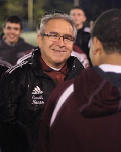 Former Naugatuck High School boys soccer coach Art Nunes is all smiles after the team won the NVL title in 2014. Nunes announced his retirement from coaching last week after 21 seasons guiding the Greyhounds on the pitch. –FILE PHOTO