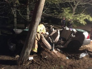 A 17-year-old from Woodbridge who was driving this car was in critical condition at Hartford Hospital following an accident that resulted in this damage Saturday night in Beacon Falls. The accident remains under investigation. –CONTRIBUTED