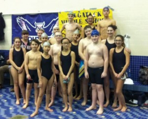 The City Hill Middle School swim team finished eighth at the state championship meet Jan. 30. –CONTRIBUTED