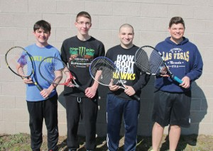 Woodland seniors, from left, Nicolas Lucas, Chris Pinevich, Jordan Baer and Mike Roulanaitis will lead the Hawks on the tennis court this season. –LUKE MARSHALL
