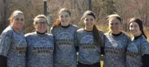 Woodland seniors, from left, Samantha Buzgo (captain), Gabriella Bedryczuk (captain), Carla Piccolo (captain), Samantha White, Cameron Caswell and Gina Farina will lead an experienced softball team this season. –KEN MORSE