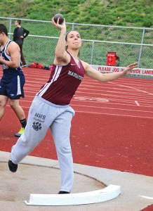 Naugatuck's Erin Schofield competes in the shotput during a meet versus Derby and St. Paul Tuesday in Naugatuck. –LUKE MARSHALL