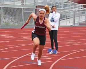 Naugatuck's Ariana Alvarado runs the first leg of the 4x100 relay during a meet versus Derby and St. Paul Tuesday in Naugatuck. –LUKE MARSHALL