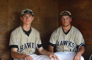 Woodland seniors Tyler Boisvert, left, and Jared Grillo earned All-Brass Division honors. Boisvert and Jared Grillo along with fellow senior captain Matt Butterworth led a young group of Hawks into the state tournament this season following a 3-9 start. –KEN MORSE