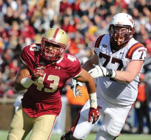 Sharrief Grice (43), of Naugatuck, played in 10 games on special teams as a freshman at Boston College. -BC ATHLETICS/JOHN QUACKENBOS